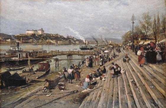 Budapest Danube Bank Fishmongers Fish Market 1885 - Lajos Bruck