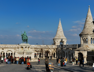 Fishermans Bastion with St Stephens Statue by Day Martin Haesemeyer